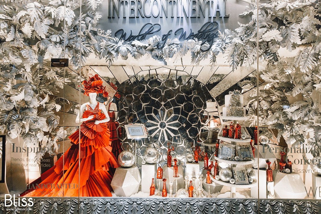 luxury window display in intercontinental vietnam by bliss wedding and event